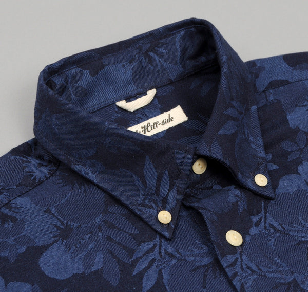 The Hill-Side - Cotton / Linen Jacquard Aloha Short Sleeve Button-Down Shirt, Navy - SH2-270 - image 2