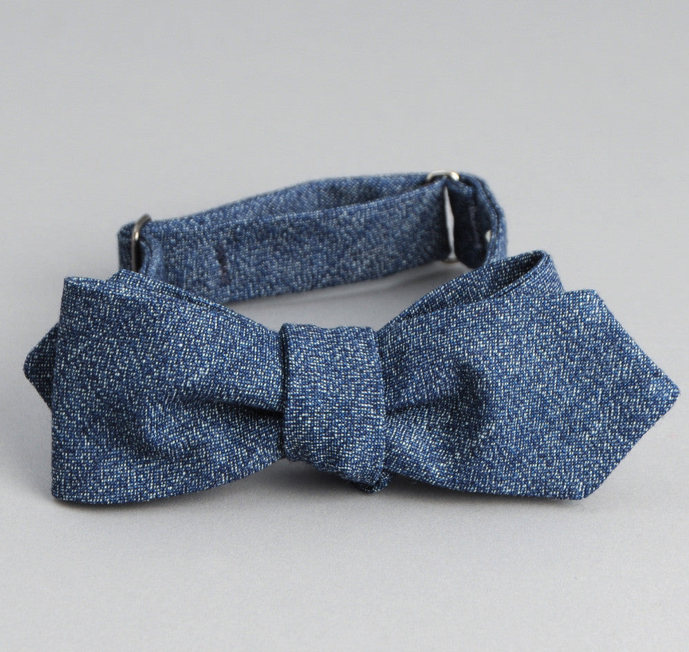 The Hill-Side Covert Chambray Bow Tie, Dark Indigo