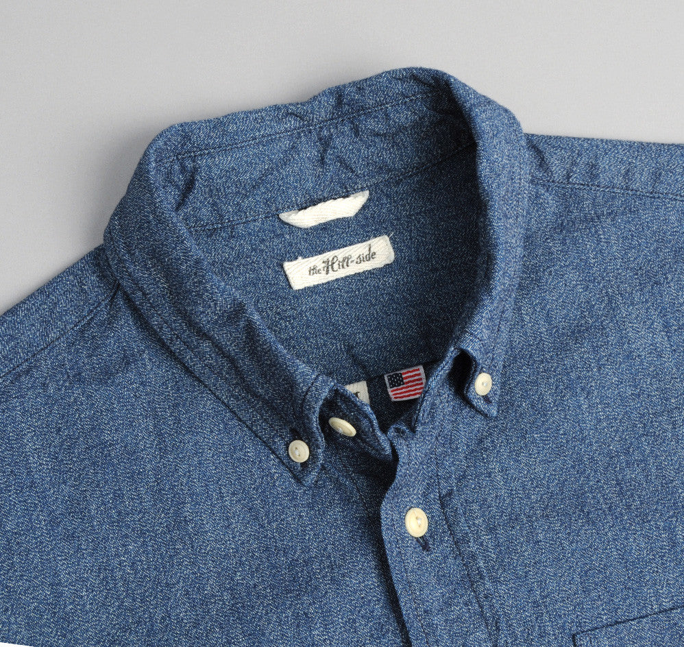 The Hill-Side - Covert Chambray Button-Down Shirt, Dark Indigo - SH1-287 - image 1
