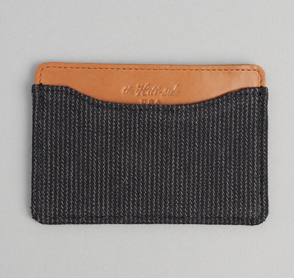 The Hill-Side Covert Hickory Stripe Twill Card Case, Black