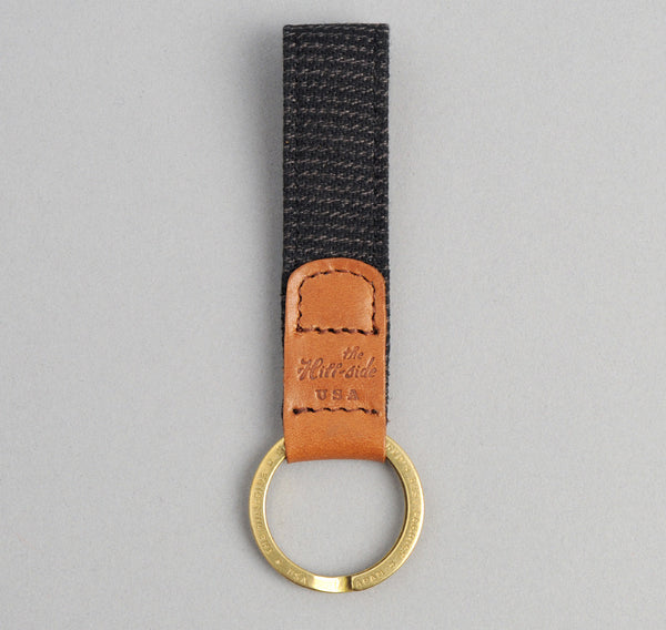 The Hill-Side - Covert Hickory Stripe Twill Key Fob, Black - KF1-304 - image 1