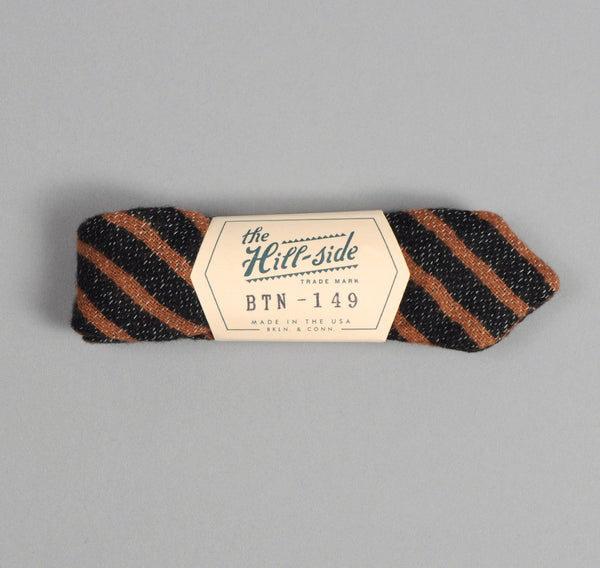 The Hill-Side - Diamond-Quilted Double-Face Gauze Stripe Bow Tie, Black / Brown - BTN-149 - image 1