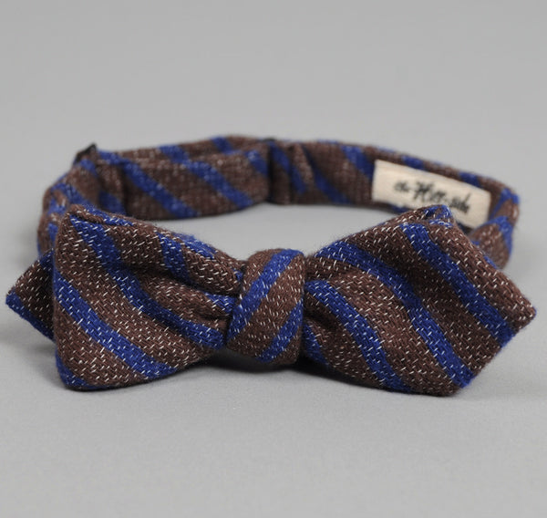 The Hill-Side - Diamond-Quilted Double-Face Gauze Stripe Bow Tie, Brown / Navy - BTN-147 - image 2