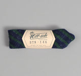 The Hill-Side - Diamond-Quilted Double-Face Gauze Stripe Bow Tie, Navy / Green - BTN-148 - image 1