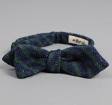 The Hill-Side - Diamond-Quilted Double-Face Gauze Stripe Bow Tie, Navy / Green - BTN-148 - image 2