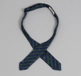 The Hill-Side - Diamond-Quilted Double-Face Gauze Stripe Bow Tie, Navy / Green - BTN-148 - image 3
