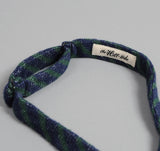 The Hill-Side - Diamond-Quilted Double-Face Gauze Stripe Bow Tie, Navy / Green - BTN-148 - image 4