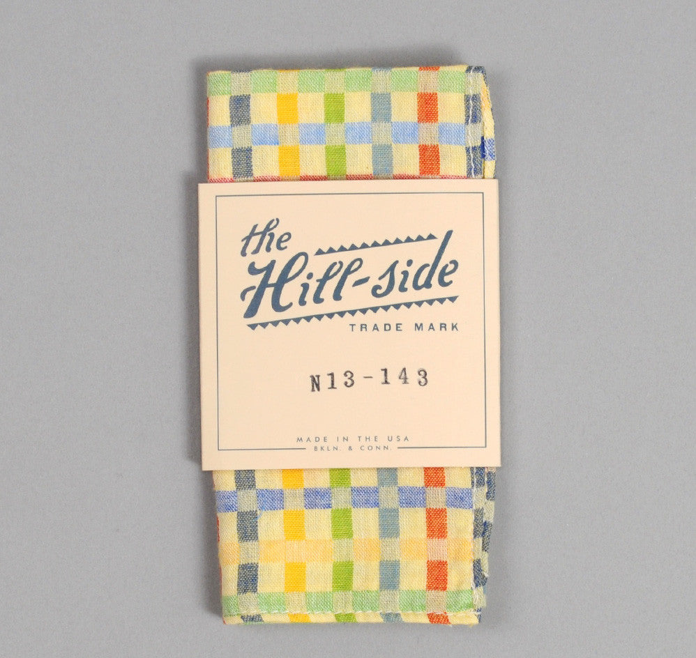 The Hill-Side - Double-Face Gauze Check Pocket Square, Yellow - N13-143