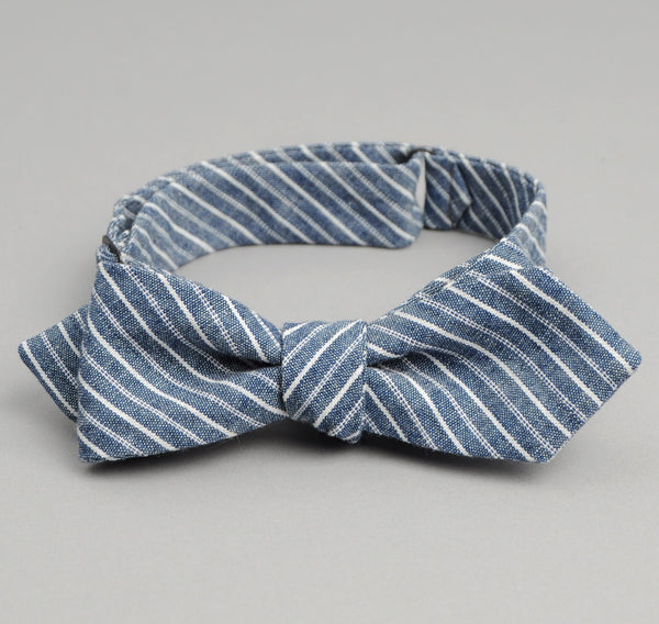 The Hill-Side Double Stripe Chambray Bow Tie, Indigo