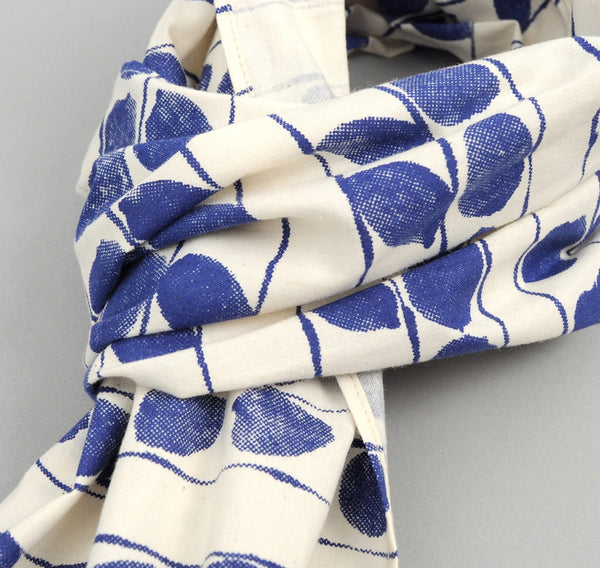 "The Hill-Side ""Endo Leaves"" Print Large Scarf, Blue / Natural"