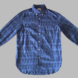 The Hill-Side - Endo Leaves Print Long Sleeve Standard Shirt, Blue / Navy - SH1-276A - image 1