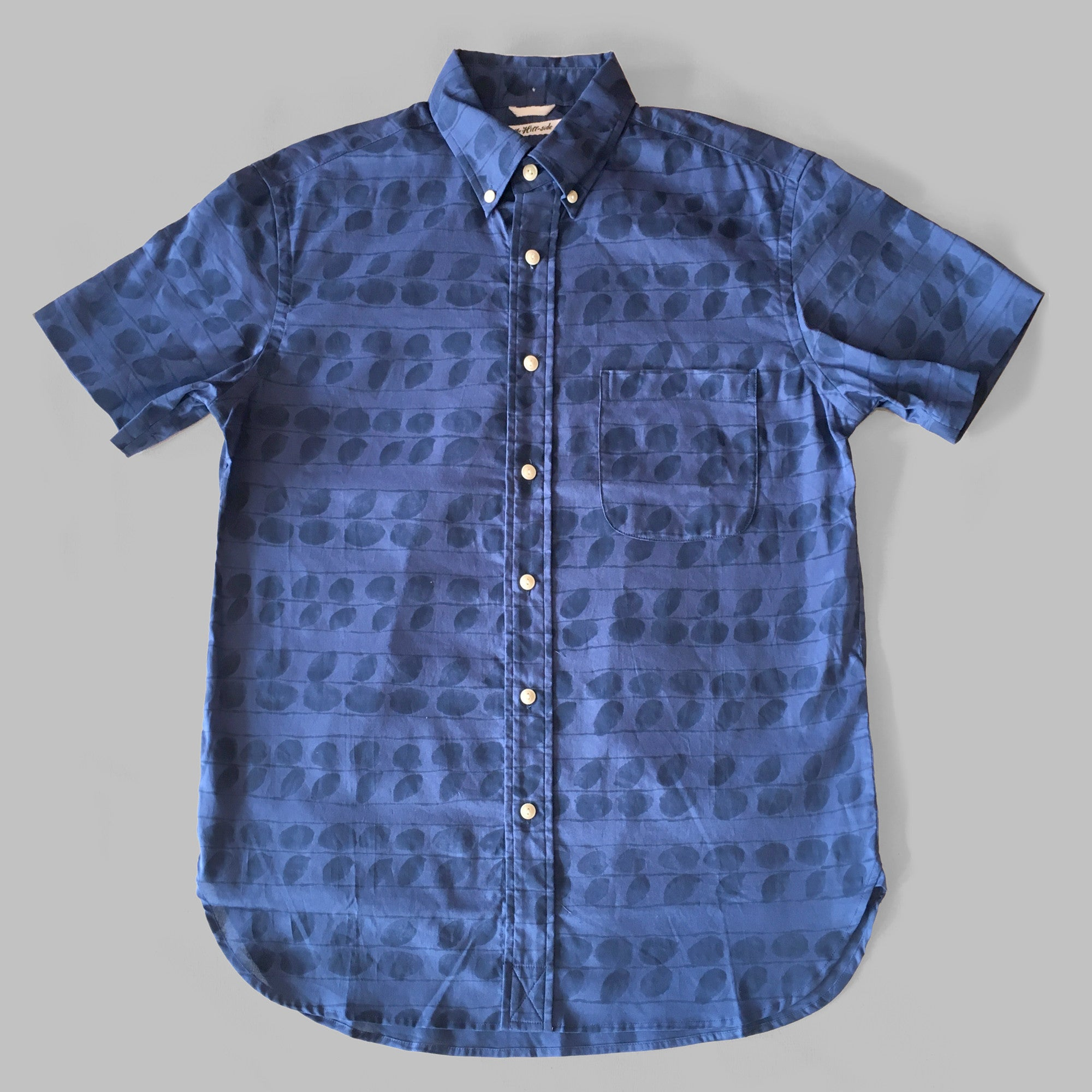 The Hill-Side - Endo Leaves Print Short Sleeve Standard Shirt, Blue / Navy - SH2-276A - image 1