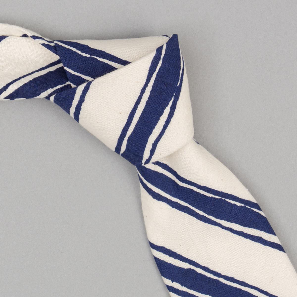 The Hill-Side - Endo Stripes Print Necktie, Natural - PT1-344 - image 1