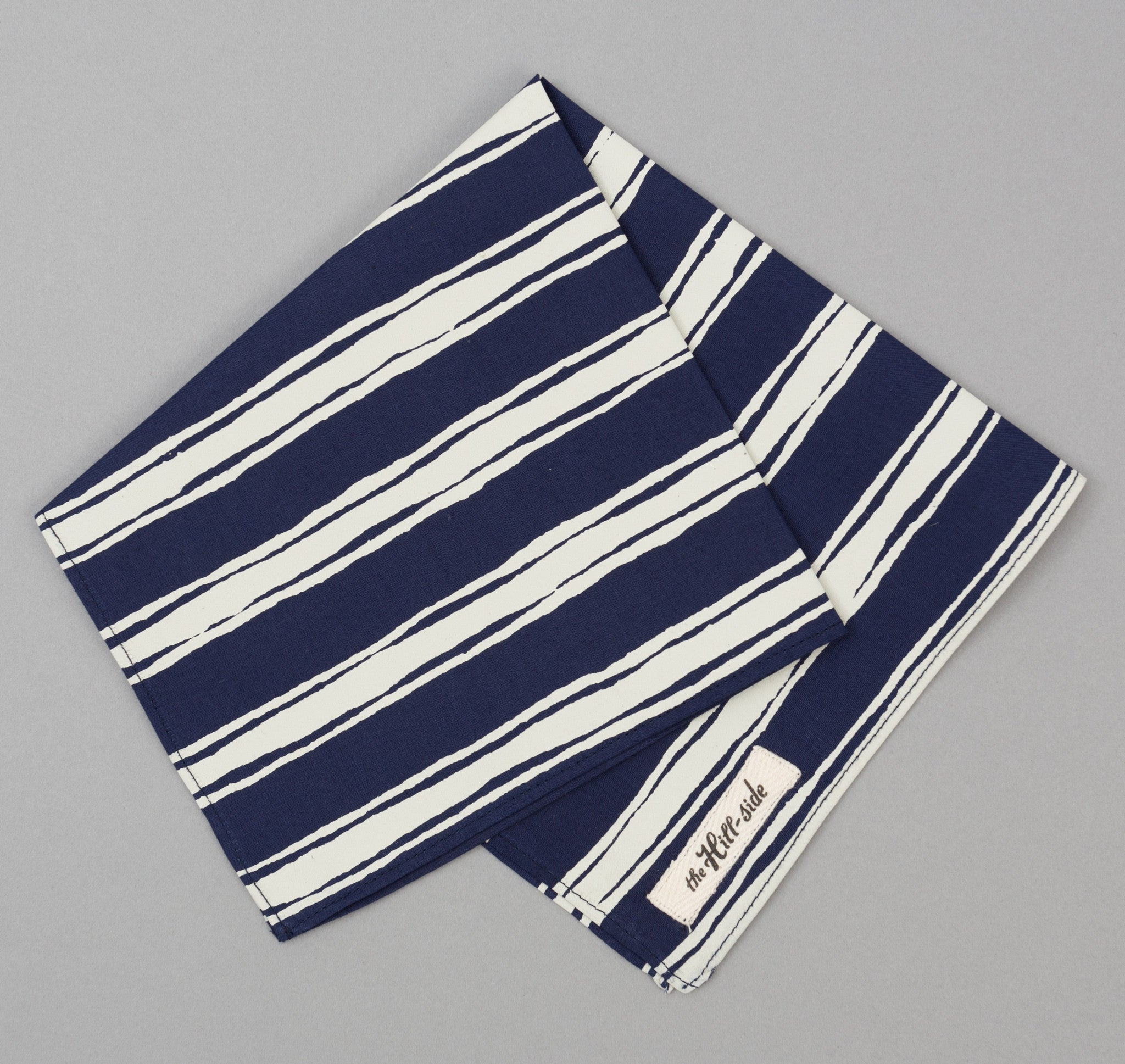 The Hill-Side - Endo Stripes Print Pocket Square, Navy - PS1-345 - image 1