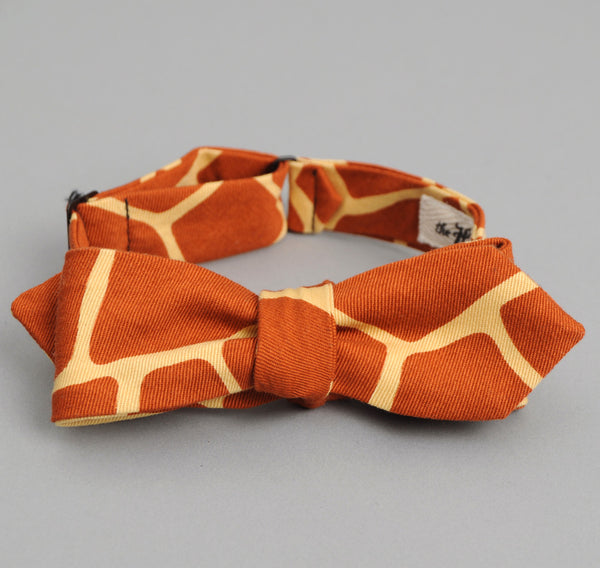 The Hill-Side - Giraffe Print Bow Tie, Brick Red - BTN-171 - image 2