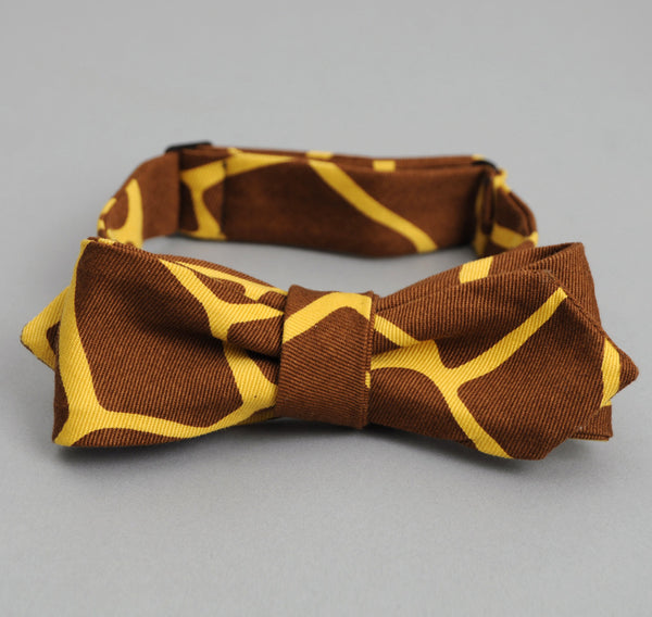The Hill-Side - Giraffe Print Bow Tie, Brown - BTN-170 - image 2
