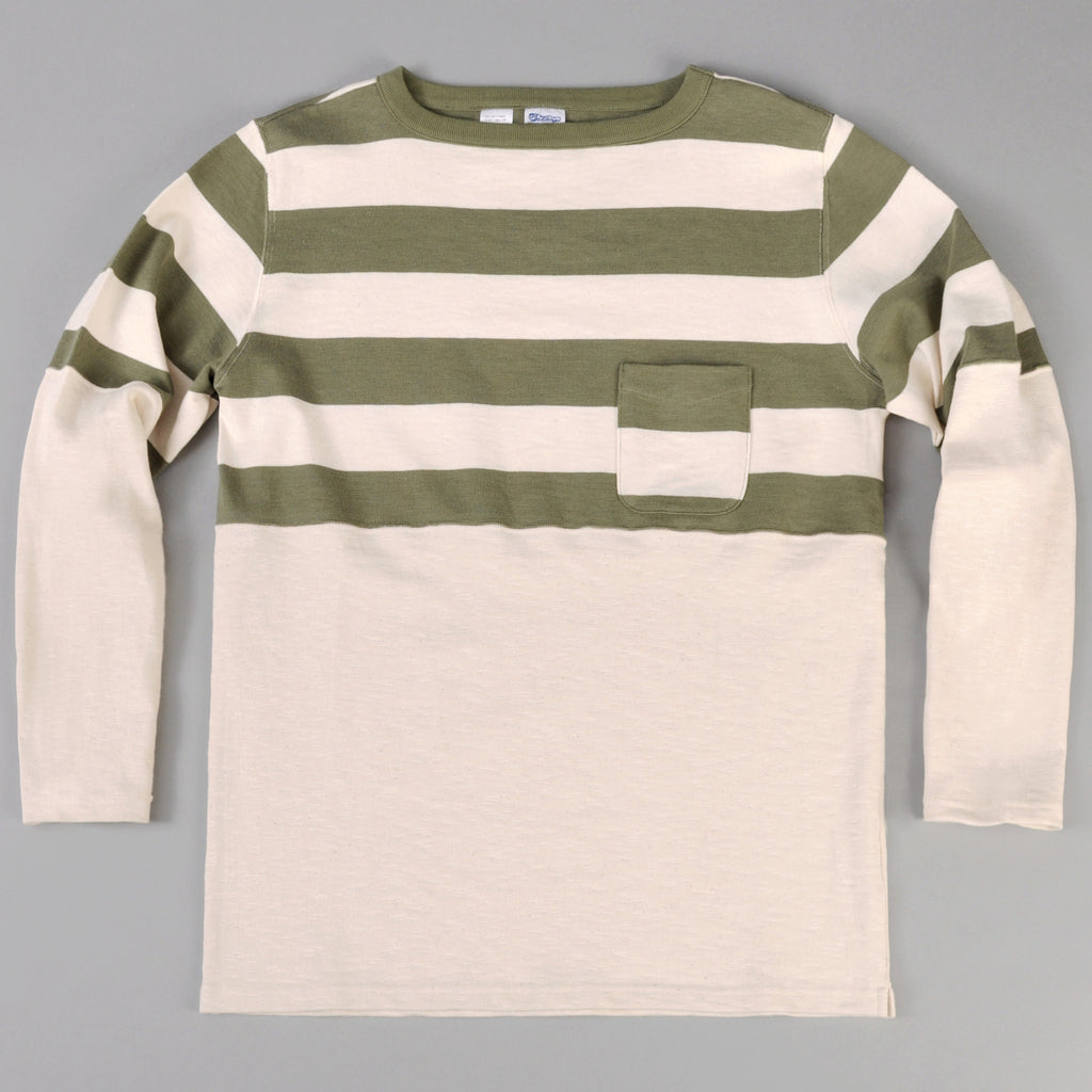 The Hill-Side Half Stripe L/S Basque Shirt, Olive (TH-S x Teasy)