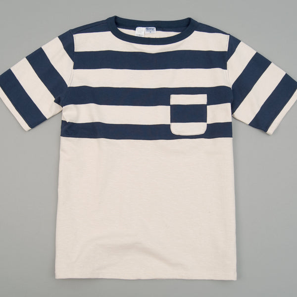 The Hill-Side - Half-Stripe Short Sleeve Basque Shirt, Navy - TS2-01 - image 1
