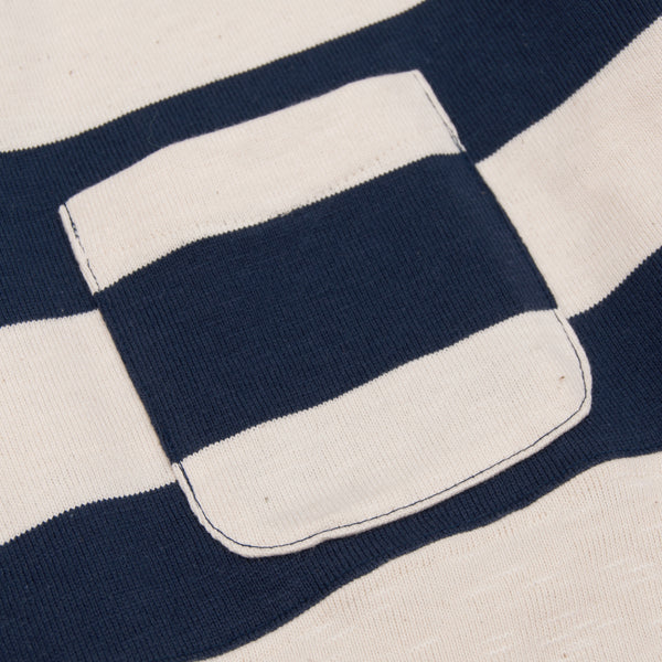 The Hill-Side Half-Stripe S/S Basque Shirt, Navy (TH-S x Teasy)