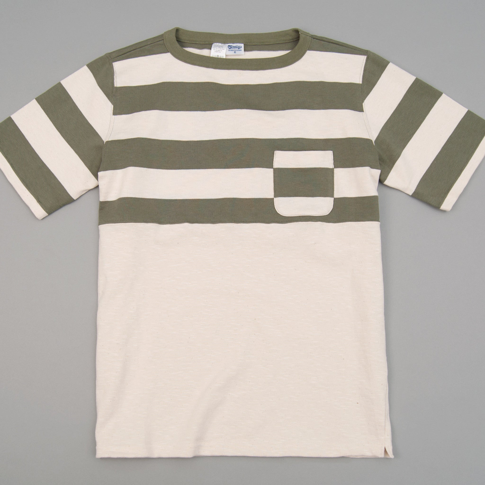 The Hill-Side Half-Stripe S/S Basque Shirt, Olive (TH-S x Teasy)