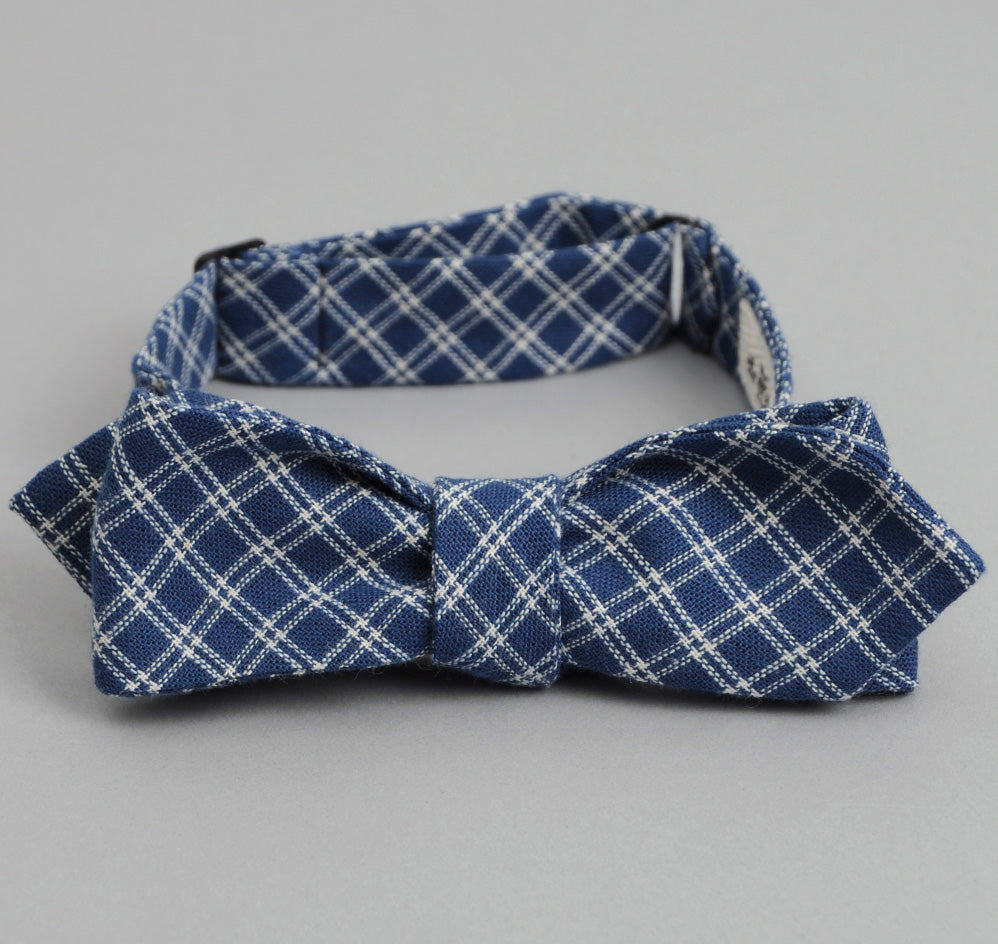 The Hill-Side - INDIGO DOUBLE WINDOWPANE BOW TIE - BTS-104 - image 1