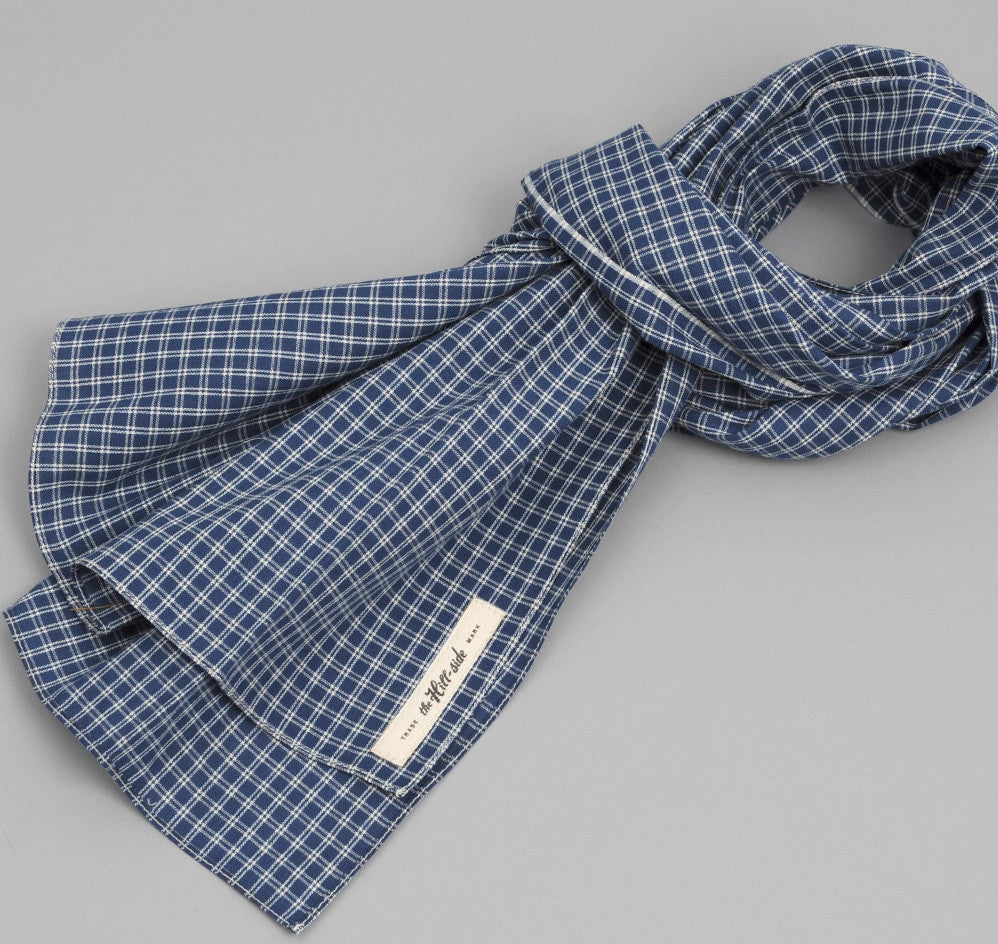The Hill-Side - INDIGO DOUBLE WINDOWPANE LARGE SCARF - S70-104