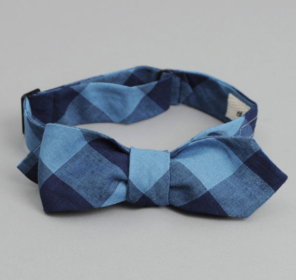 The Hill-Side - INDIGO LARGE GINGHAM BOW TIE - BTN-154 - image 2