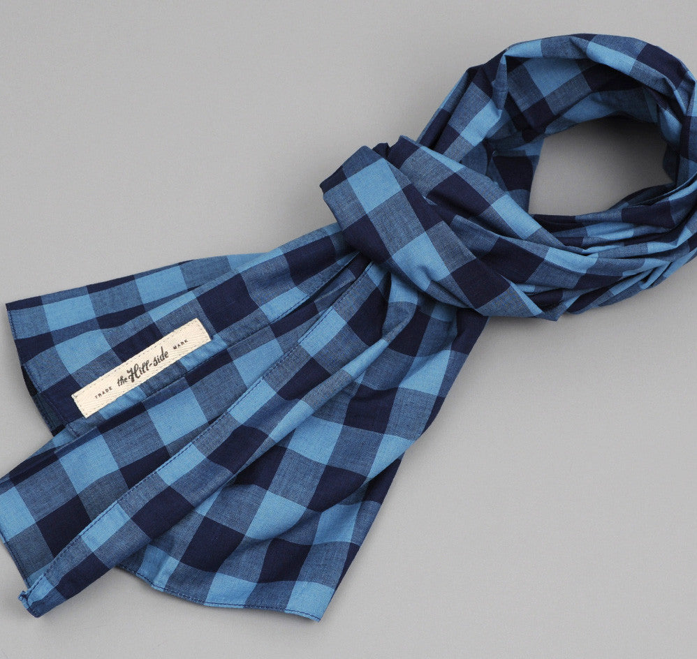 The Hill-Side - INDIGO LARGE GINGHAM LARGE SCARF - N70-154