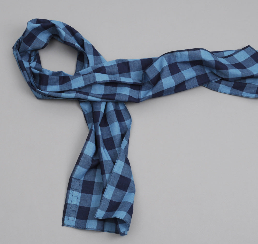 The Hill-Side - INDIGO LARGE GINGHAM SMALL SCARF - N56-154 - image 1