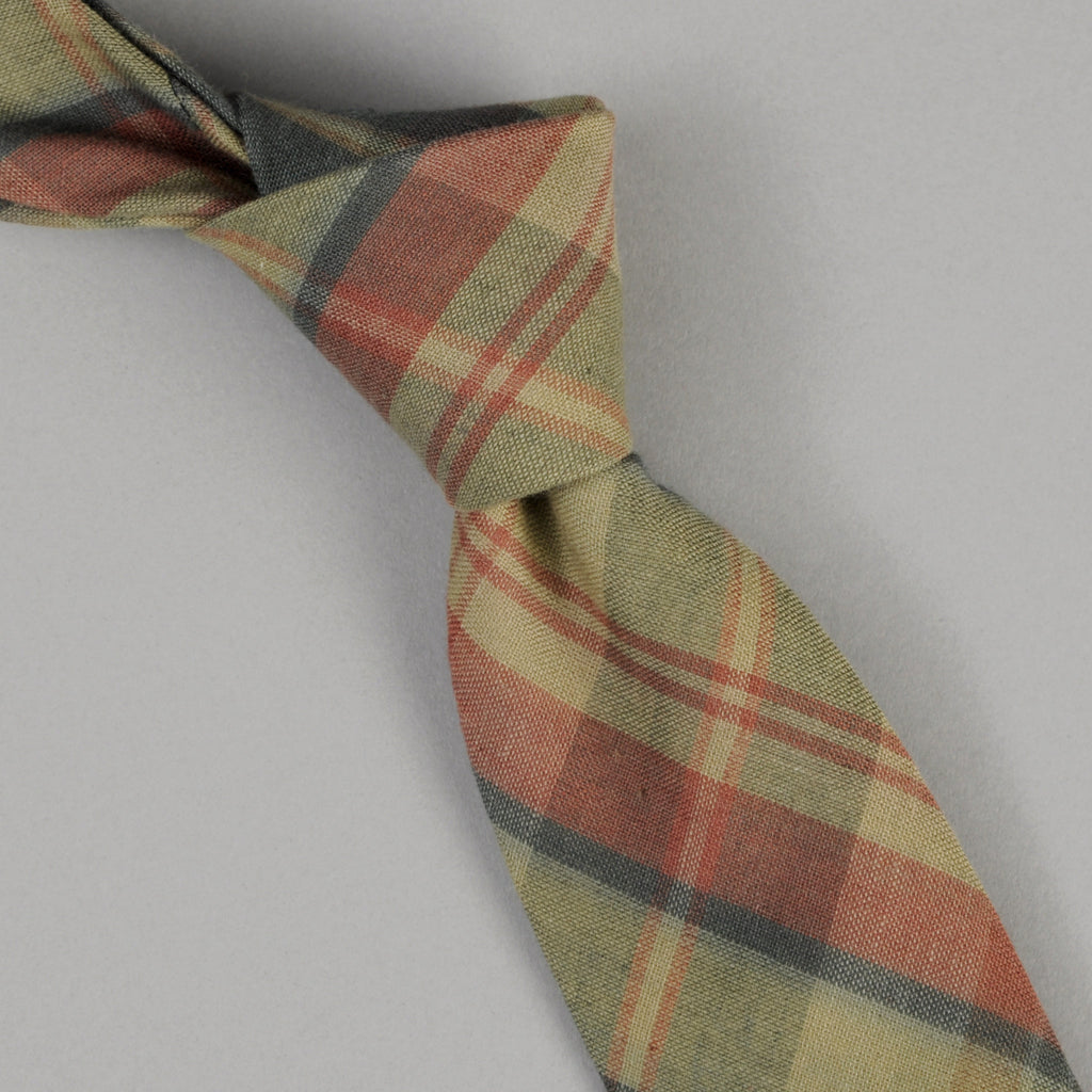 The Hill-Side - Indian Madras Necktie, Faded Red / Blue Check - PT1-426 - image 1