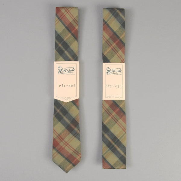 The Hill-Side - Indian Madras Necktie, Faded Red / Blue Check - PT1-426 - image 2