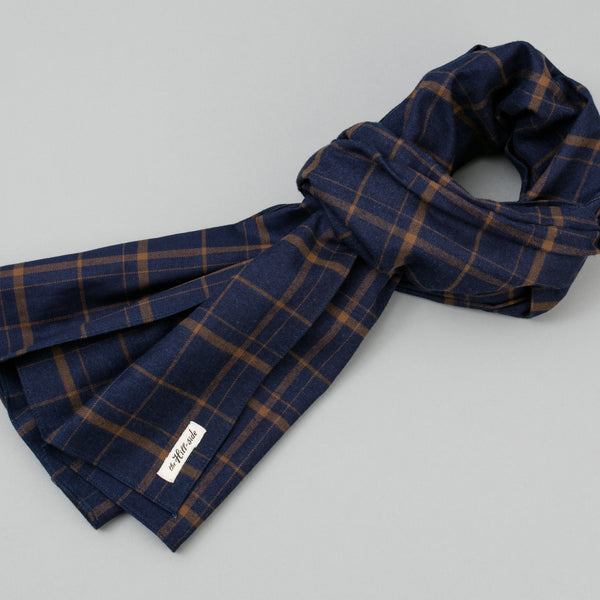 The Hill-Side - Indigo / Brown Flannel Check Scarf - SC1-378 - image 1