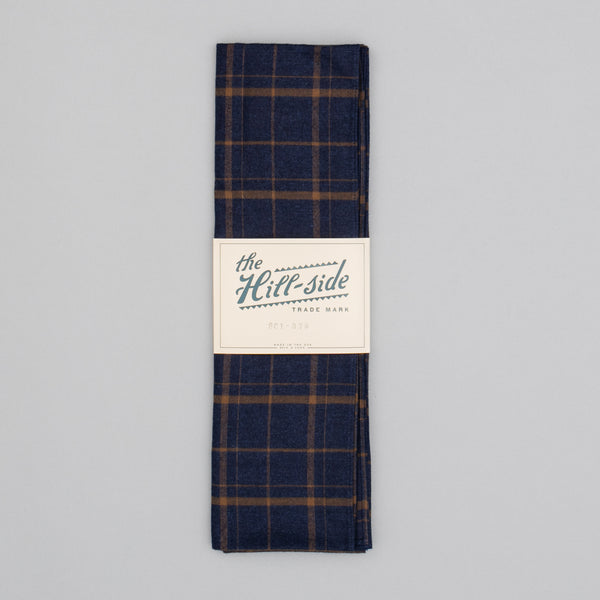 The Hill-Side - Indigo / Brown Flannel Check Scarf - SC1-378 - image 2
