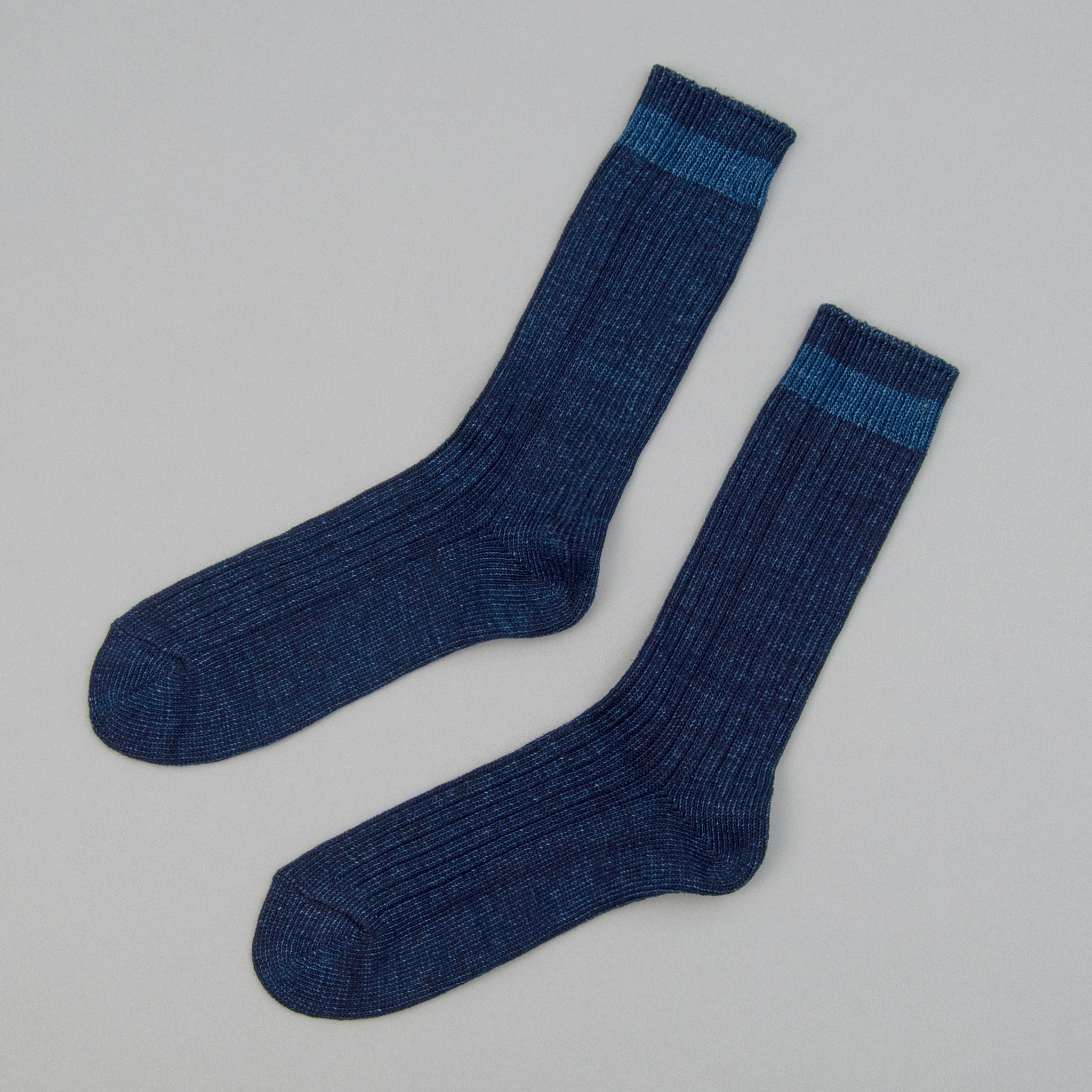 The Hill-Side - Indigo Crew Socks, Single Stripe - SX8-01 - image 1