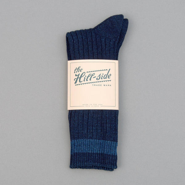 The Hill-Side - Indigo Crew Socks, Single Stripe - SX8-01 - image 2
