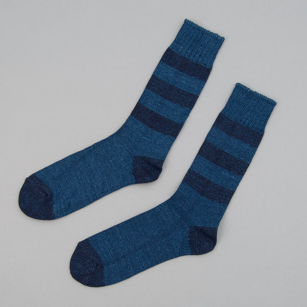 The Hill-Side - Indigo Crew Socks, Triple Stripe - SX8-03 - image 1