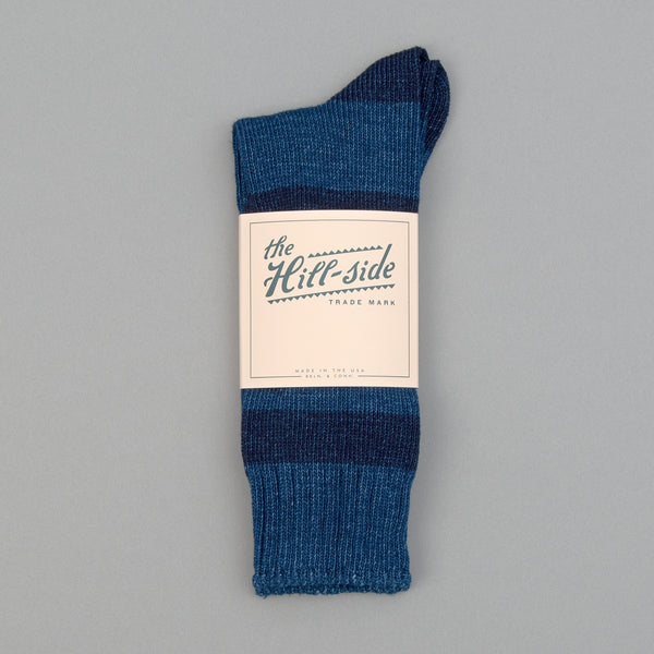 The Hill-Side - Indigo Crew Socks, Triple Stripe - SX8-03 - image 2