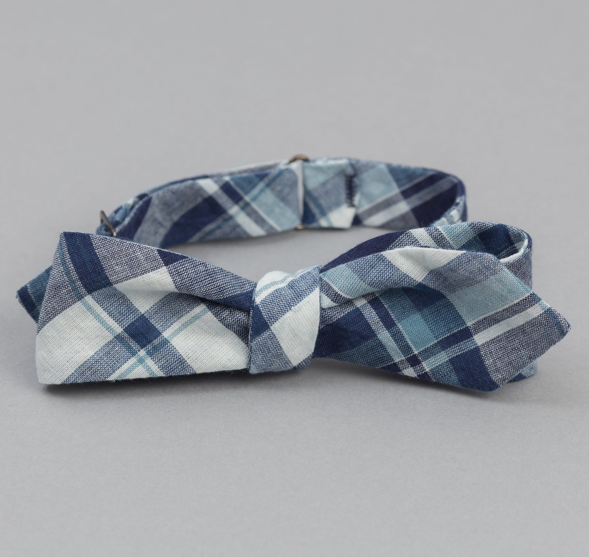 The Hill-Side - Indigo Madras Large Check Bow Tie, Natural Base - BT1-333 - image 1