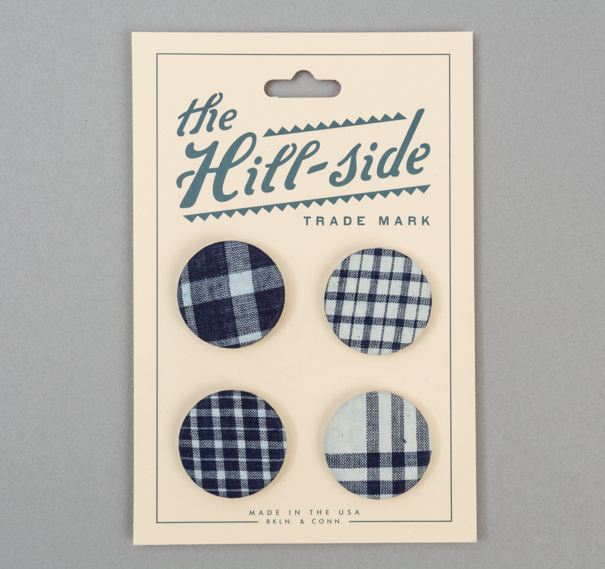 The Hill-Side - Indigo Madras Pin-Back Buttons - PB1-13 - image 1
