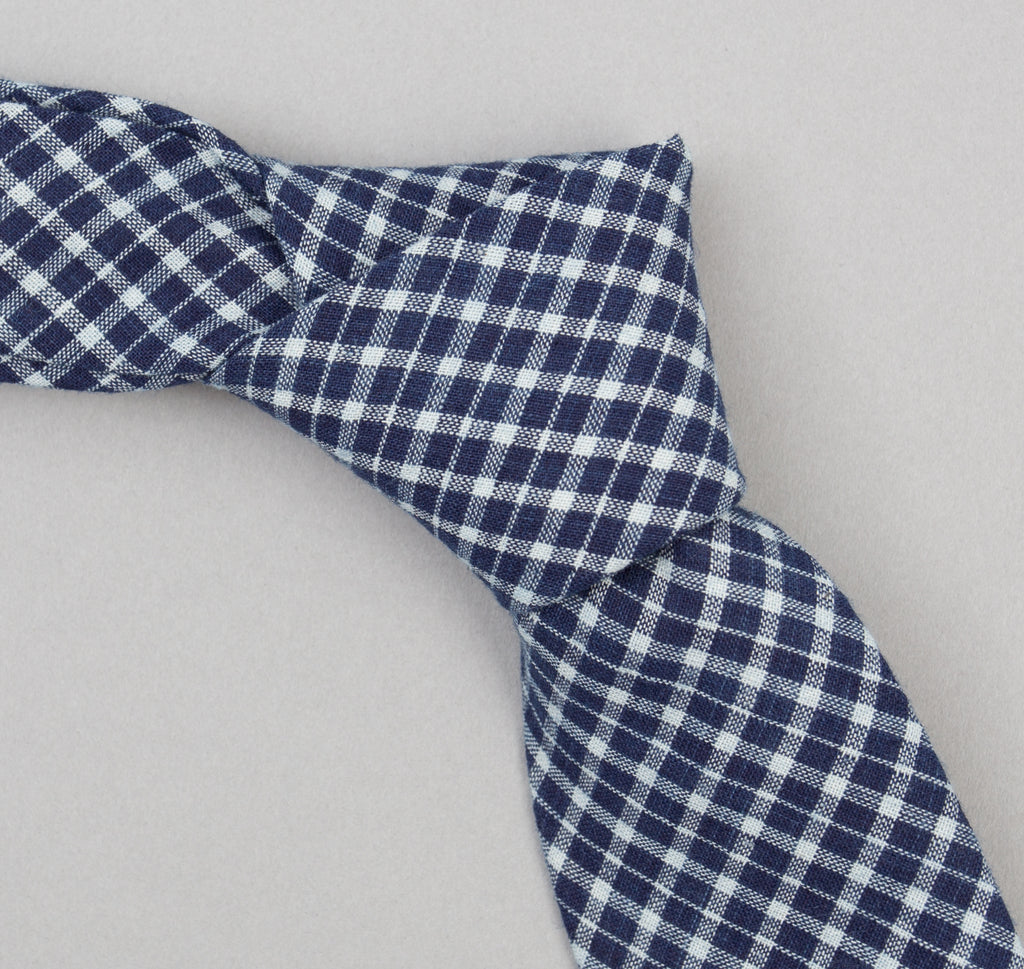 The Hill-Side - Indigo Madras Small Check Necktie, Indigo Base - PT1-337 - image 1