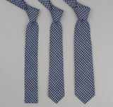 The Hill-Side - Indigo Madras Small Check Necktie, Indigo Base - PT1-337 - image 2
