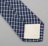 The Hill-Side - Indigo Madras Small Check Necktie, Indigo Base - PT1-337 - image 3