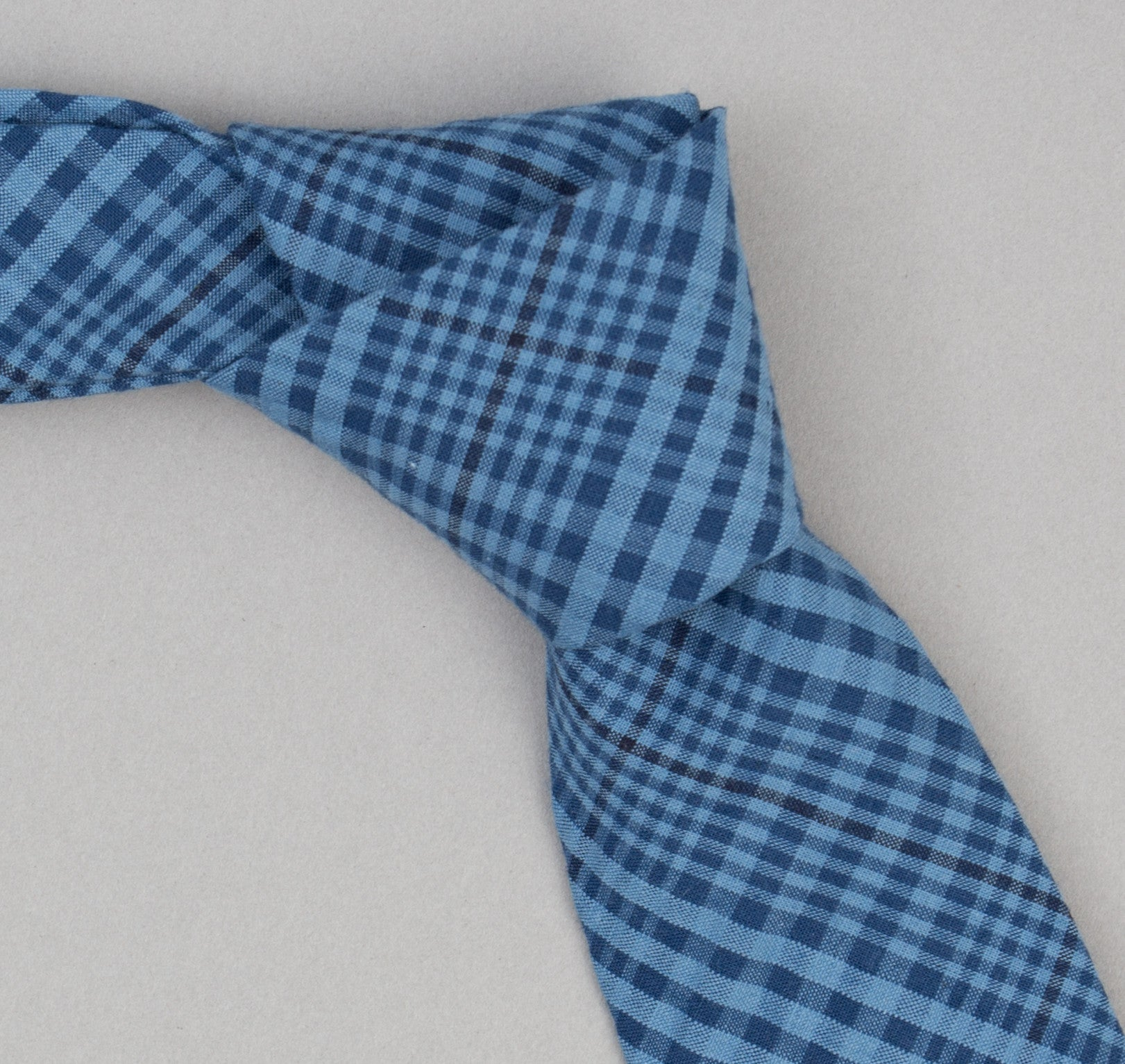 The Hill-Side - Indigo Seersucker Check Necktie - PT1-332 - image 1