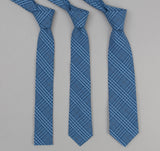 The Hill-Side - Indigo Seersucker Check Necktie - PT1-332 - image 2
