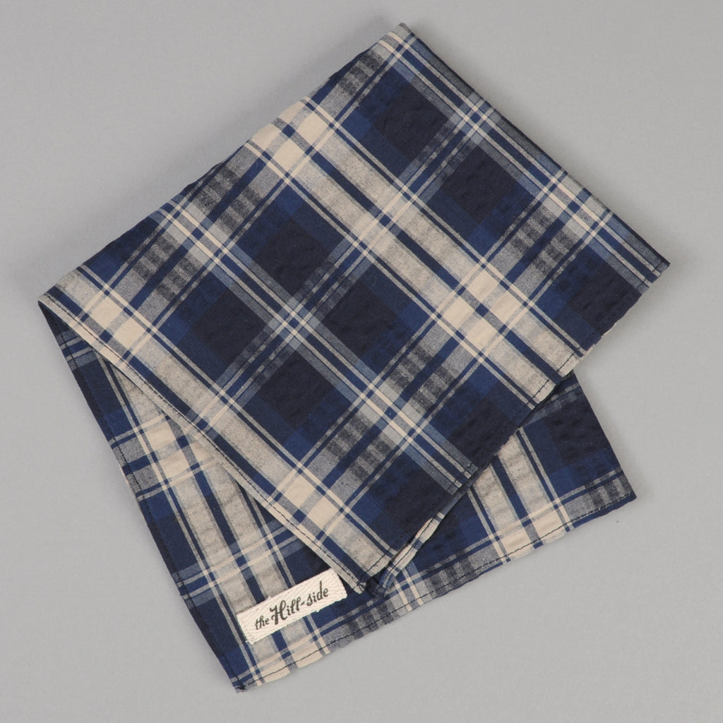 The Hill-Side - Indigo Seersucker Plaid Pocket Square - PS1-430 - image 1