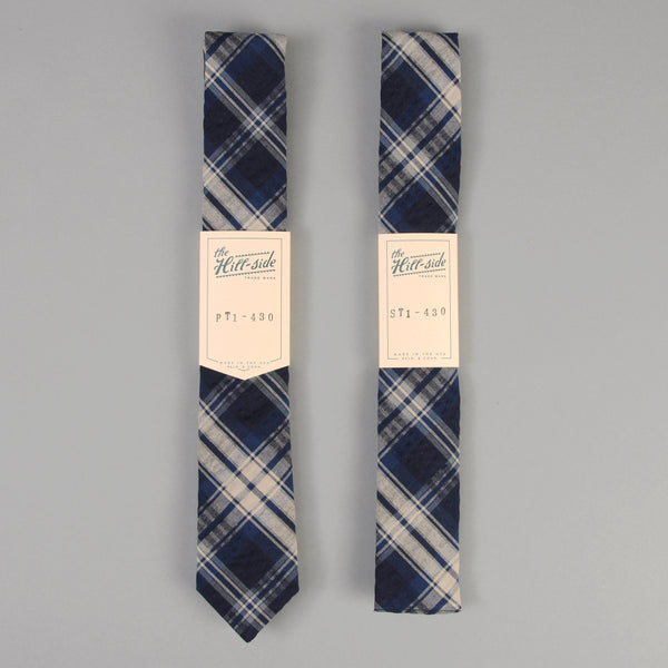 The Hill-Side - Indigo Seersucker Plaid Tie - PT1-430 - image 2