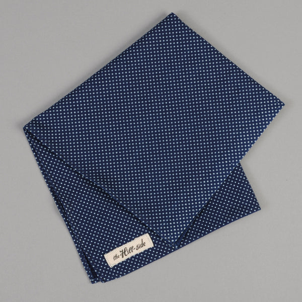The Hill-Side - Indigo Wabash Dot Pocket Square - PS1-271 - image 1
