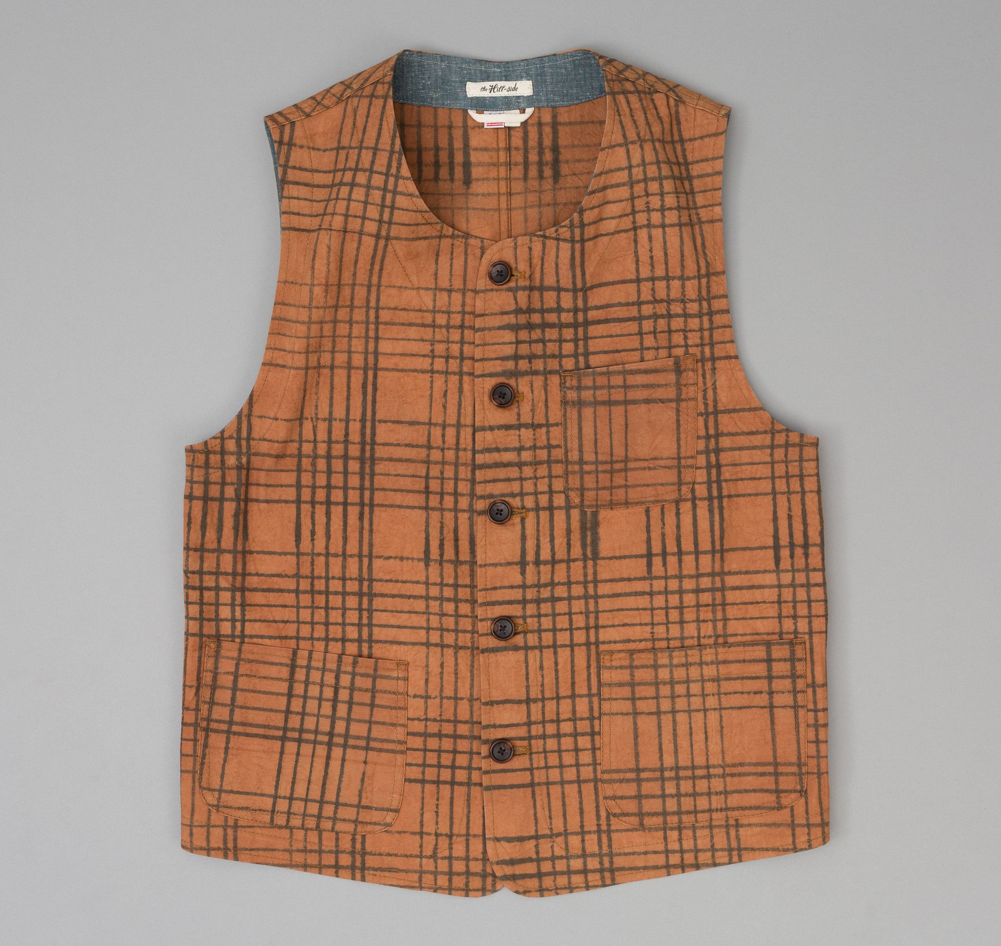 The Hill-Side - Kakishibu Dyed Cotton Oxford Weekend Vest, Hand-Drawn Check - VE1-320 - image 1
