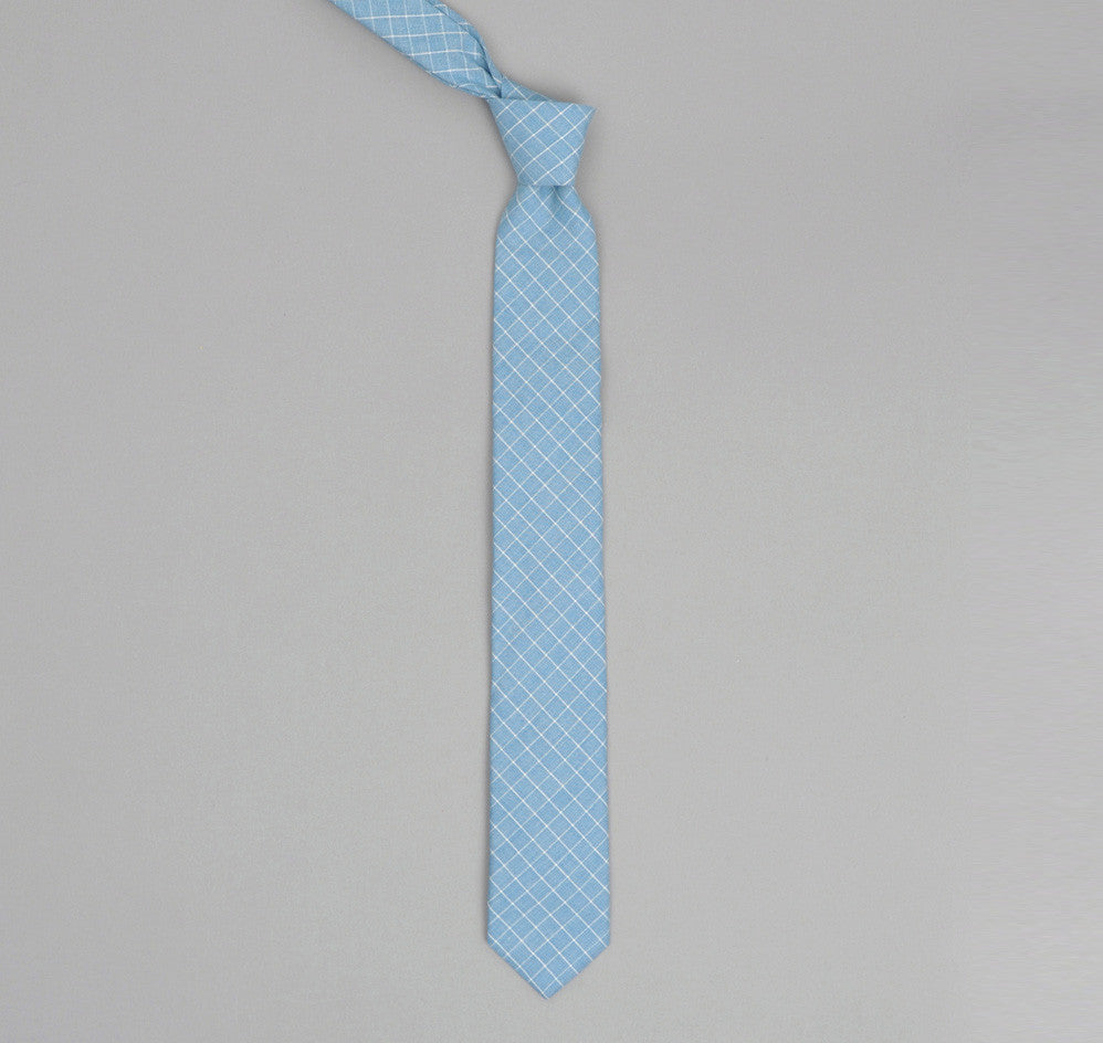 The Hill-Side - LIGHT BLUE GRID POINTED TIE - PN57-152 - image 1