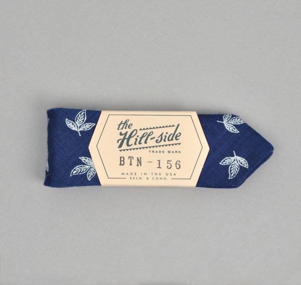 The Hill-Side - LINEN INDIGO DISCHARGE PRINT BOW TIE, LEAVES - BTN-156 - image 1